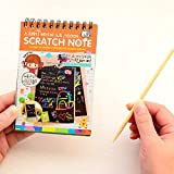 WAY BEYOND Graffiti Scratch Note Black Cardboard Notebook Creative DIY Scraping Drawing Paper Notes, Gift, for Kids - Pack of 10