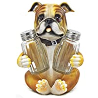 Bulldog Salt & Pepper Shaker Set Statuette with Decorative Spice Rack Display Stand Holder Puppy Dog Figurine in Puppy and Canine Kitchen Decor or Restaurant Bar Table Decorations As Housewarming by bombayjewel