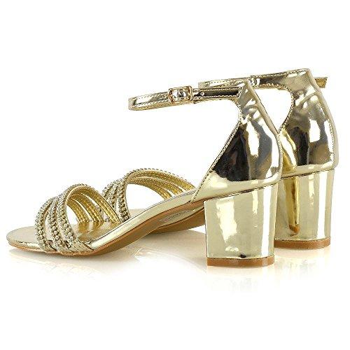 Essex Glam Sandales À Bride À La Cheville Pour Femmes Chaussures À Talons Bas Diamant Métallisé Or