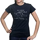 AK-47 AK-74 Rifle Gun SKS Soviet Yugo Sling Blueprint Ladies Womens T shirt