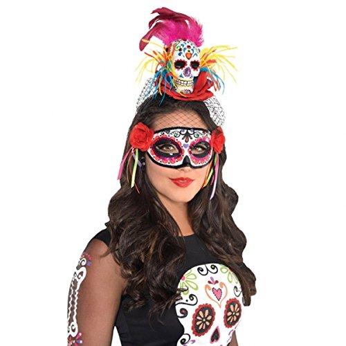 1x Haarreif * DAY OF THE DEAD * für Halloween und Motto-Party // mit echten Federn // Motto Party Totenkopf bunt Tag der Toten Kinder Geburtstag Tiara Diadem