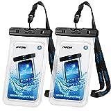 Mpow Wasserdichte Handyhülle 2 Stücke, Handy Hülle Wasserdicht, Staubdichte Schützhülle für iPhone X/8/7/6/6s/6splus/5/5c/5s/Galaxy S9/S8/S7/S7edge/S6/S6 edge/S5,Huawei P10/P8/P9, usw bis zu 6 Zoll ✪LEBENSLANGE GARANTIE✪