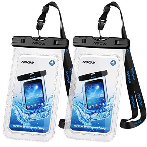 Mpow Wasserdichte Handyhülle, Handytasche Wasserfest, Staubdichte Schutzhülle für iPhone X/XR/ XS/XS MAX/8/7/6/6s/Galaxy S9/S8/S7/S7edge/S6/S Huawei P10/P8/P9 usw. bis 6,5 Zoll Transparent 2 Stück