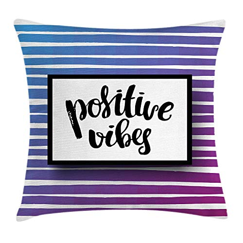 DANCENLI Quote Throw Pillow Cushion Cover, Positive Vibes Brush Lettering Motto on Blended Striped Background, Decorative Square Accent Pillow Case, 18 X 18 inches, Cobalt Blue Purple and Black