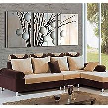 Mon Kunst - Set de 3 lienzos de arte abstracto para pared con imagen de árbol, impresiones de Giclee, decoración moderna para el hogar, negro, 40cmx60cmx3 UnFramed