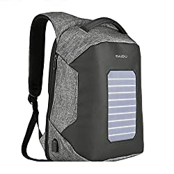 Laptop Backpack 16 Inch Solar Energy Charge Package Leisure Travel Shoulders Student School Bag With USB charging port, light gray, 16 inches