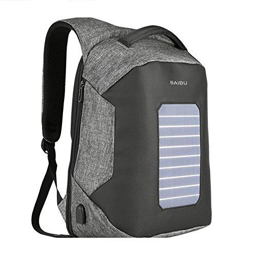 Laptop Rucksack 16 Zoll Solarenergie Ladung Paket Freizeit Reisen Schultern Studenten Schultasche Mit USB-Ladeanschluss , light grey , 16 inches -
