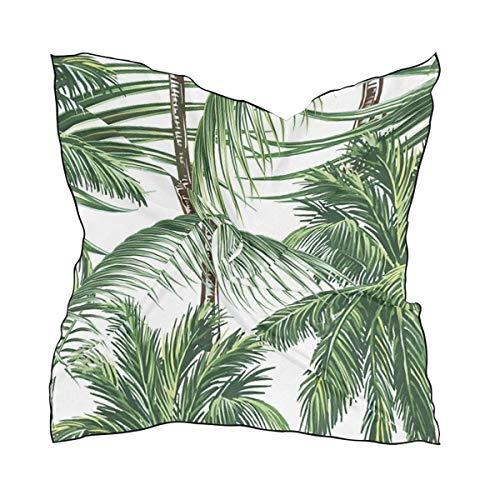Pizeok Tropical Green Palm Leaves Quadratischer Halstuch Satin Silk Feeling Head Hair Wraps Haartuch aus Twill-Satin-Polyester Satin Wrap-around