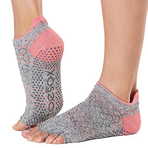 Toesox Damen Women's Low Rise Half Grip Non-Slip for Ballet, Yoga, Pilates, Barre Toe Socks, Maniac, m Pointe Womens Slip