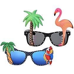 ds. distinctive style DSstyles 2 Piezas Novedad Gafas de Fiesta Tropical Hawaianas, Gafas de Sol de Cumpleaños Partido con Flamingo Parrot Tree