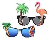 DSstyles 2 Stück Hawaiianische Tropische Neuheit Sonnenbrille Flamingo Papagei Baum Party Brille für Verrücktes Kleid