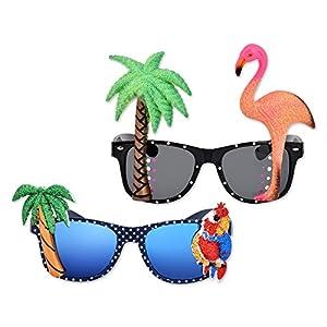 DSstyles-2-Piezas-Novedad-Gafas-de-Fiesta-Tropical-Hawaianas-Gafas-de-Sol-de-Cumpleaos-Partido-con-Flamingo-Parrot-Tree