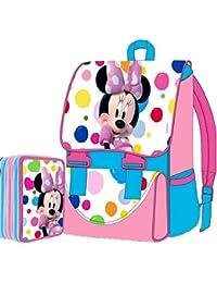 Preisvergleich für Disney Minnie Maus Schul-Set Promo-Paket Rucksack erweiterbar + Federmäppchen, Edition 2015-2016