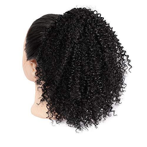 Parrucca da donna nera africana, capelli ricci, capelli ricci, capelli ricci naturali, capelli corti, parrucca afro, extension, cordino, coda di cavallo, puff chignon