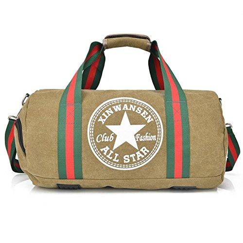 OOLIFENG Canvas Reisetasche Gepäcktasche Männer und Frauen Schultertasche Sport und Fitness Khaki