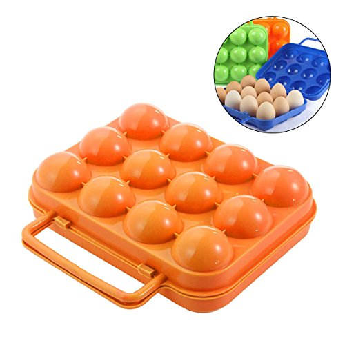 AOLVO Ei Carrier, tragbare faltbare Ei Halterung für Camping Outdoor Picknick Garten Grill, Kunststoff Ei Karton Ei, Box wiederverwendbar Egg Container mit Griff (12Ei Slots), orange
