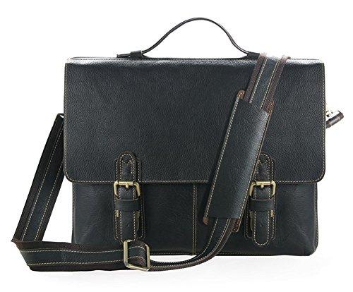 Everdoss Herren echt Leder Aktentasche Umhängetasche Schultertasche Messenger Bag Handtasche Schwarz Schwarz