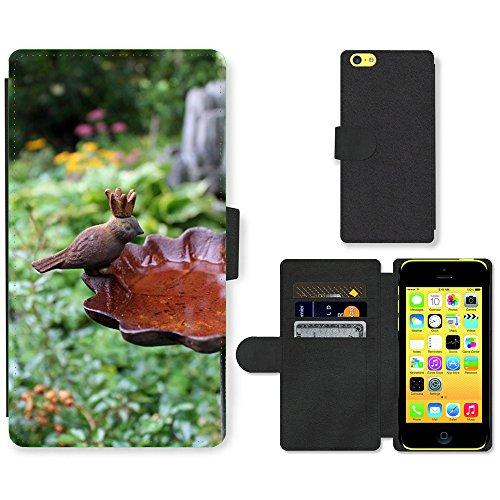 Just Mobile pour Hot Style Téléphone portable étui portefeuille en cuir PU avec fente pour carte//m00139059Bain d'oiseaux vieux fer jardin en métal//Apple iPhone 5C