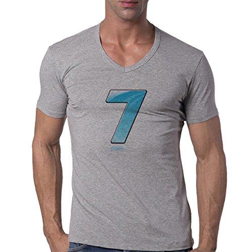 Number Math Symbol Calculus Equations Seven Herren V-Neck T-Shirt Grau