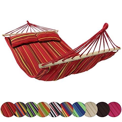 Amaca con Supporto CIBAO con 2 Cuscini Inclusi Dimensioni Telo 240x140 cm Disponibile in Molti Colori carico Massimo 300 kg per 2 Persone, Colore:Indonesia