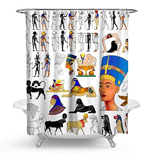 KISY Egypt Queen Nefertari Wasserdichter Duschvorhang Antike Hyeroglyphen Ikonen exotische Tribal Ethnic Badezimmer Duschvorhang Standard Größe 177,8 x 177,8 cm, Weiß -