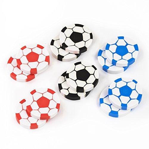 Fussball Radiergummis 12 Stück Radierer Fussballparty Mitgebsel Gastgeschenke mit Palandi® Sticker