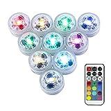 LUXJET® 10er Pack mini RGB Teichbeleuchtung,LED Unterwasser Lichter mit Fernbedienung, Batteriebetrieben, IP68 Wasserdichte für Garten, Aquarium, Vase, Badewanne, Pool oder Spa