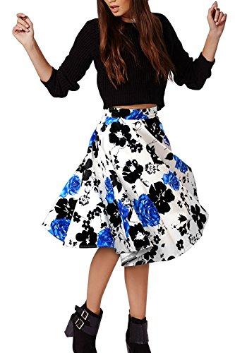 Lylafairy Damen 50er Jahre Art Rock Vintage Rockabilly Swing Faltenrock Knielang Mode Skater Röcke (42, Blau blumen)