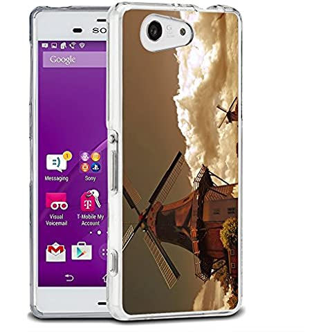 Paesaggi 157, Mulino a Vento, Cristallino Custodia Protettiva in Gel Silicone Caso Ultra Sottile Copertura con Disegno Colorato per Sony Xperia Z3 Compact Mini