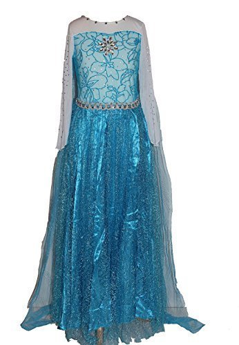 Maxi Real Snow Queen Elsa Dress Costume for Girls 3-9 Years (L) by ()