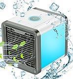 COMLIFE Refroidisseur d'air mini ventilateur évaporatif 3in1 refroidisseur d'air portatif d'air Réglable d'Espace humidificateur et purificateur, climatiseur de bureau avec 3 vitesses et 7 couleurs de LED lumière de nuit.