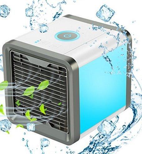 Preisvergleich Produktbild COMLIFE Luftkühler Mini tragbare Mobile Klimageräte Verdampfend Air Cooler, 3 in 1 Kühler, Luftbefeuchter und Luftreiniger, Tischklimaanlage Ventilator mit 3 Stufen und 7 Farben LED Nachtlicht