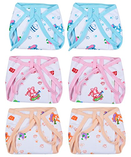 Kuchipoo Premium Quality Padded Baby Nappies Colored - Pack of 6 (KUC-RNAP-101, Multicolor, 3-6 Months)