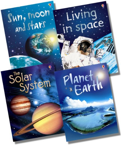 Usborne Beginners Earth & Space Collection - 4 Books RRP £19.96 (Solar System; Sun, moon and stars; Living in Space; Planet Earth)