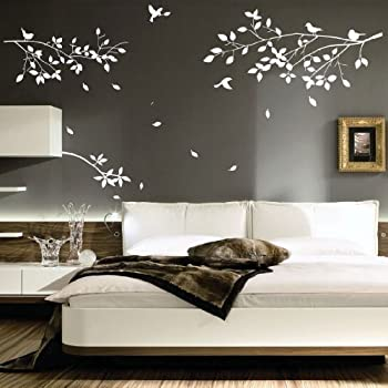 Large tree branches birds art wall stickers wall decals for Salon style oriental chic