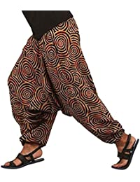 Chakra Meditation Printed Cotton Afghani Trouser Harem Pants For Unisex With Elastic Waist Band