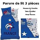 FFF - EQUIPE DE FRANCE - Parure de lit (3pcs) - Housse de Couette (140x200) + Taie d'Oreiller (63x63) + Drap housse (90x190) - FOOTBALL
