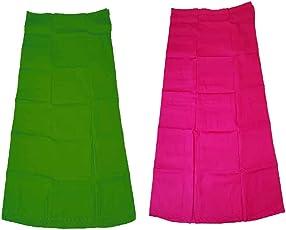 Javuli Women's Combo Of 2 Cotton Solid Petticoat (Green Pink_Free Size)