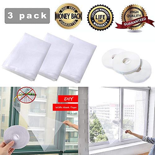 Moskitonetze für Fenster,Insektenschutznetz Fliegengitter,Fenster Insektenschutz Netz,Fliegengitter für Fenster,Insektenschutz Fenster(3 Packungen-130 cm x 150 cm)