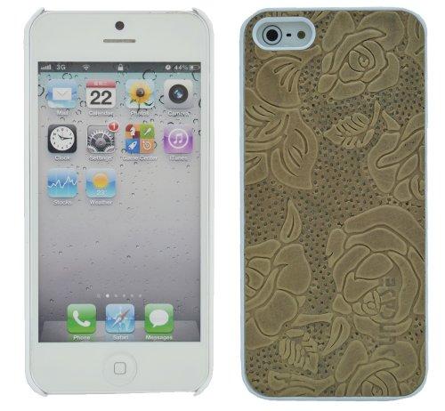 Original SunCase ® Leder-Schale (Handy-Cover) für Apple iPhone SE / iPhone 5S / iPhone 5 in argyle-antik Rose-Beige