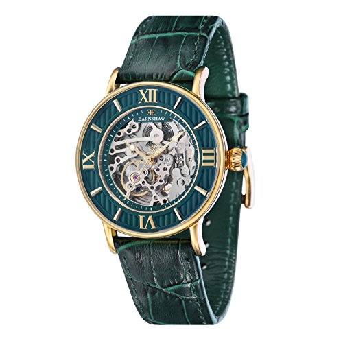 Thomas Earnshaw Armagh Men's Automatic Watch with Green Dial Analogue Display with Green Leather Strap ES-8038-06
