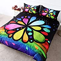 BlessLiving Rainbow Bedding for Girls Women Funky Hippie Watercolor Bloom Duvet Cover Set 3 Pieces Colorful Bedspreads Trendy fashionable and Hippy (Single)
