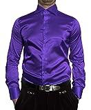 Renzo Herren Designer Glanz Hemd bügelleicht New Kent Violett Größe XXL 46