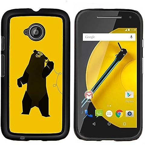 Copertura di plastica Shell Custodia protettiva || Motorola Moto E ( 2nd Generation ) || Divertente Musica Dancing Bear @XPTECH