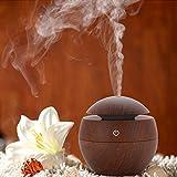 Mini Humidificateur Miyare 130 ml Aroma Diffuseur USB Humidificateur en Bois pour Voiture Yoga SPA Chambre d'enfants Bébé Chambre à Coucher Salon et Bureau (Brun)