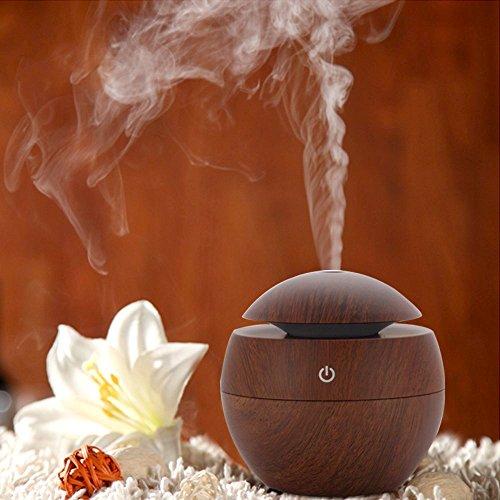 Miyare 130ml Mini Luftbefeuchter Aroma Diffusor USB Raumbefeuchter HumidifierGeeignet Holzmaserung für Auto,Babies, Yoga, SPA, Kinderzimmer, Schlafzimmer, Wohnzimmer und Büro (Braun) (Usb Aroma Diffusor)