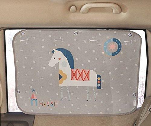 Tokkids - Tendina Parasole laterale per auto, blocca il 99% dei raggi solari, protegge gli occhi e la pelle dei bambini, dimensione regolabile, 70 * 50cm disegno Cavallino