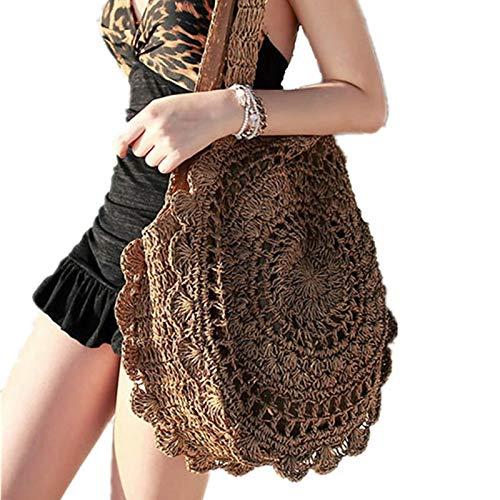Baumwolle Stroh Tote (CBSTBLLL Stroh runde Tasche für Frauen Strandtasche große handtaschen reißverschluss weiblich gewebt handgemachte Damen Tote umhängetaschen)