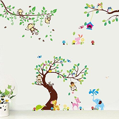 Rainbow Fox Wandtattoo Wandsticker Eule Baum Giraffe L?we Kinderzimmer Baby (1214-1205-1017)