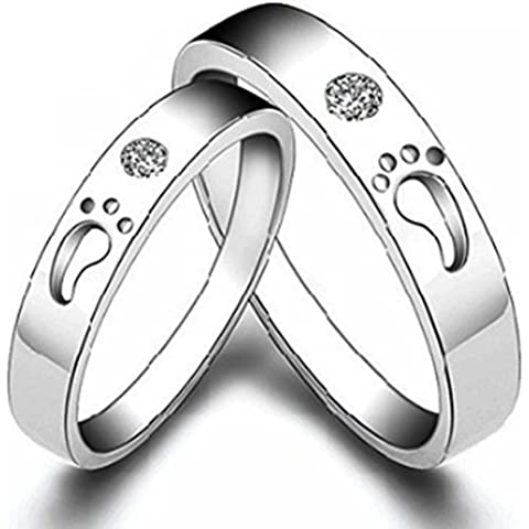 SaySure - 1 piece of 925 Sterling Silver footprints Lover Ring (SIZE : 10)